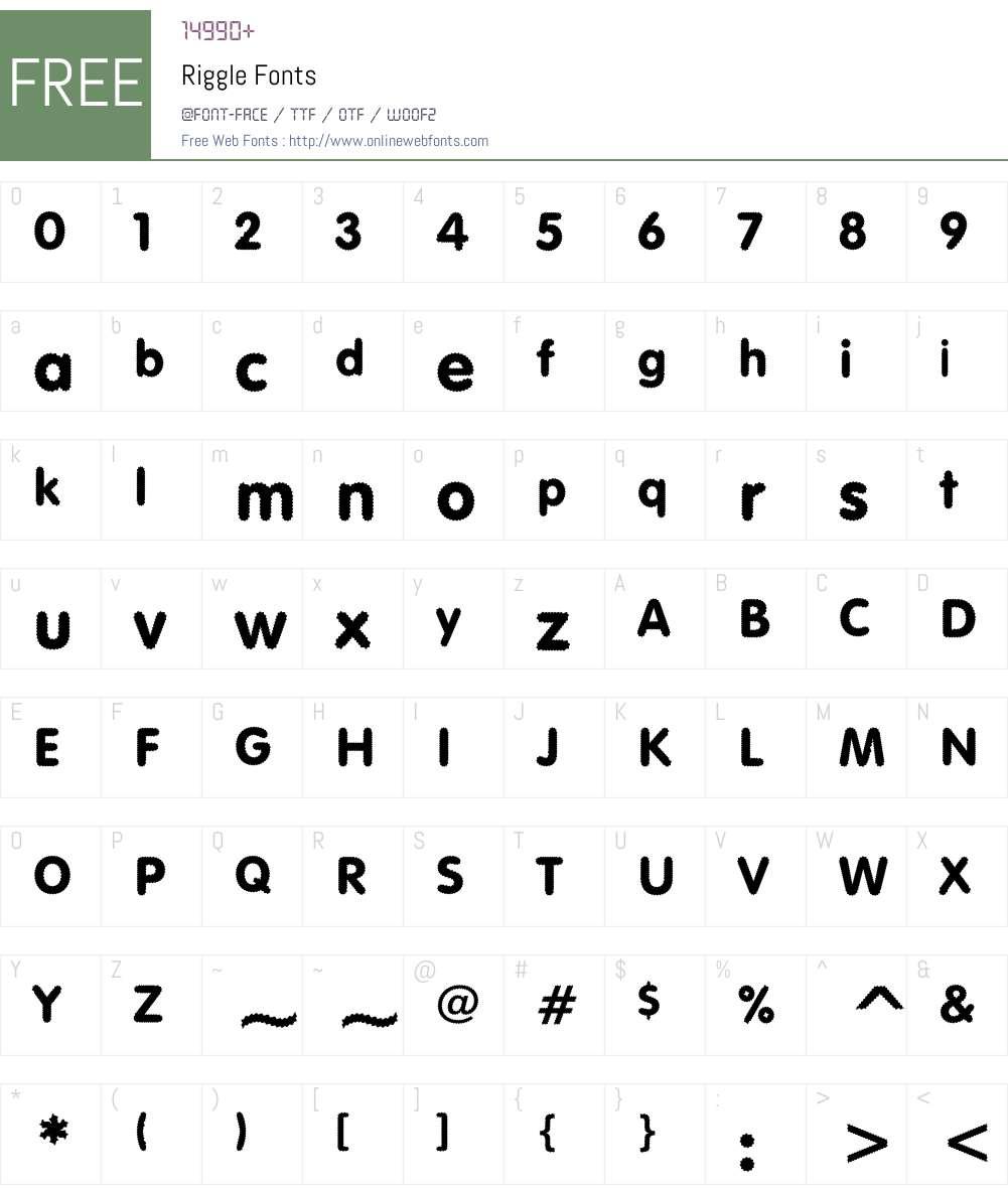 Riggle Font Screenshots