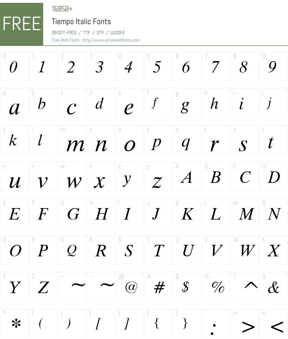Tiempo Font Screenshots