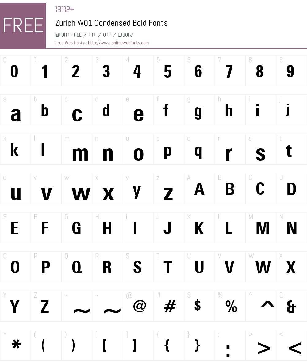 ZurichW01-CondensedBold Font Screenshots