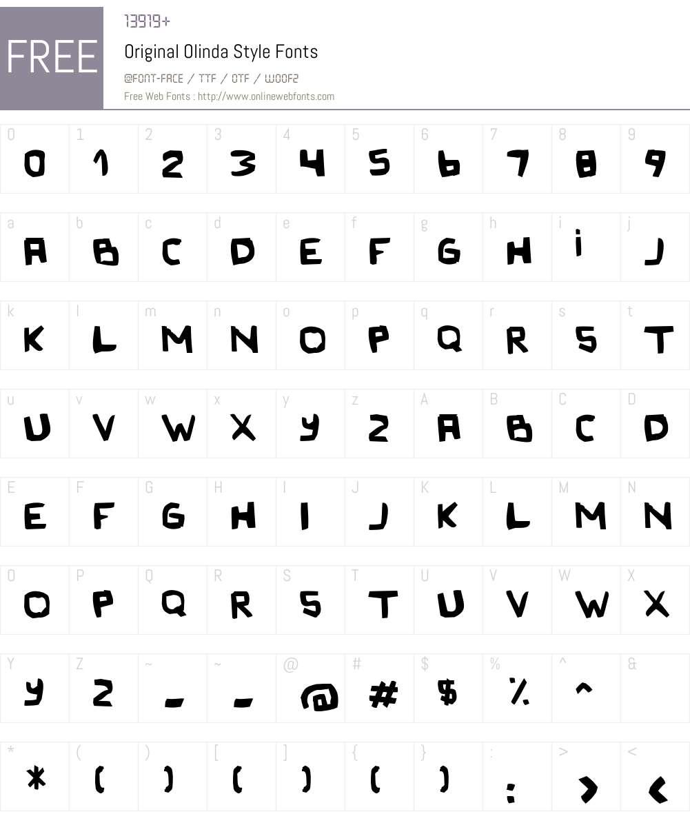 Original Olinda Style Font Screenshots