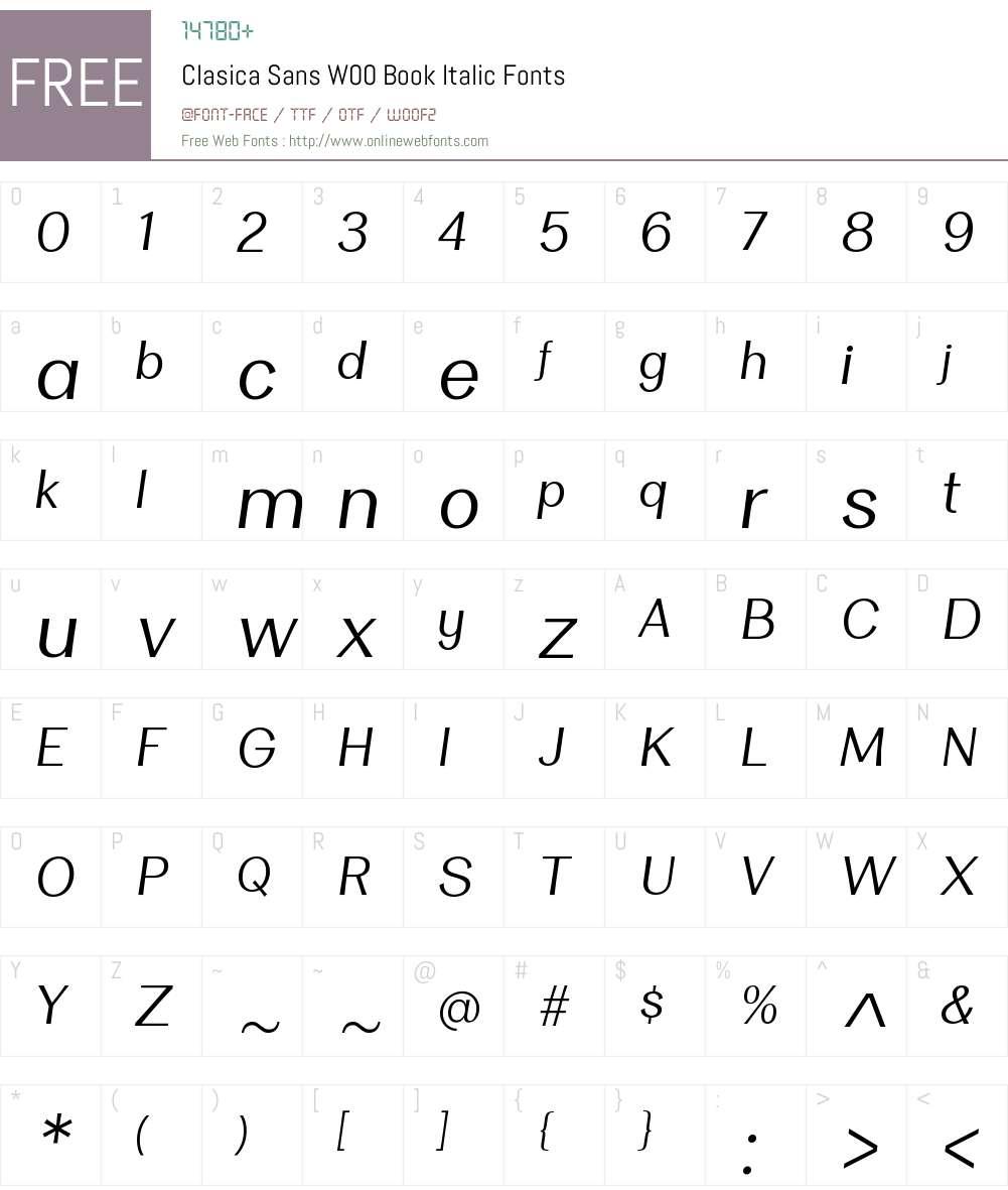 ClasicaSansW00-BookItalic Font Screenshots