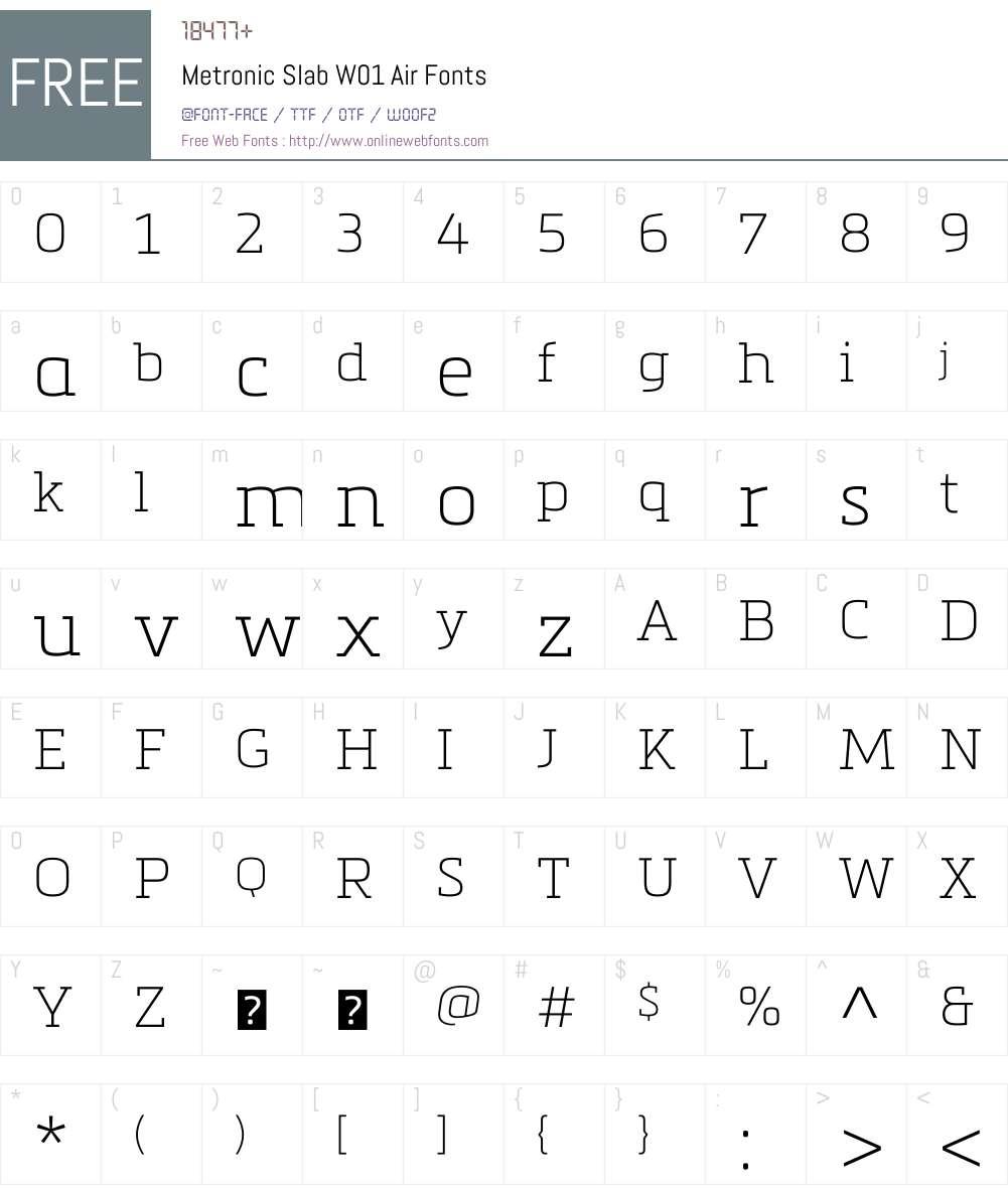 MetronicSlabW01-Air Font Screenshots