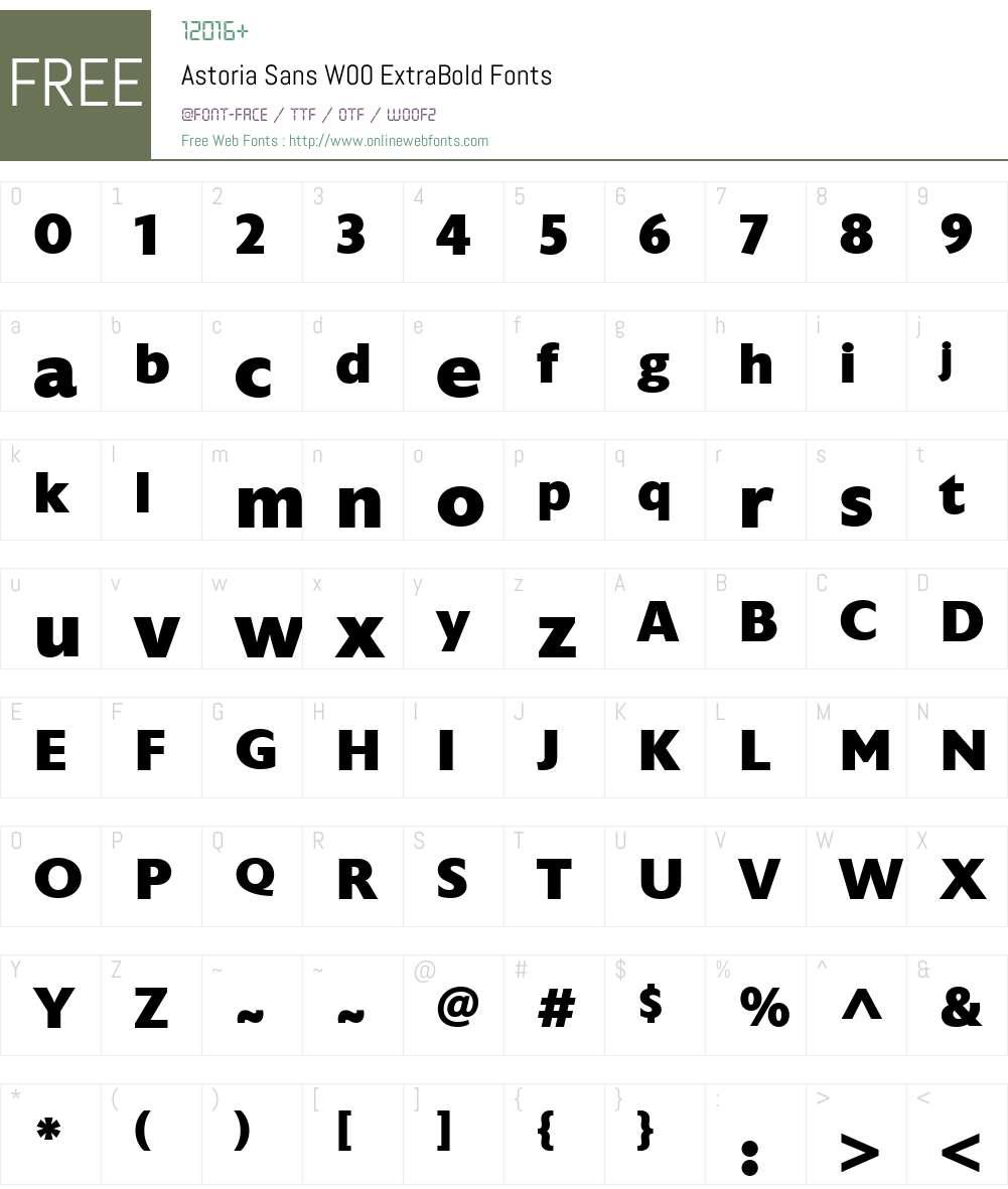 AstoriaSansW00-ExtraBold Font Screenshots