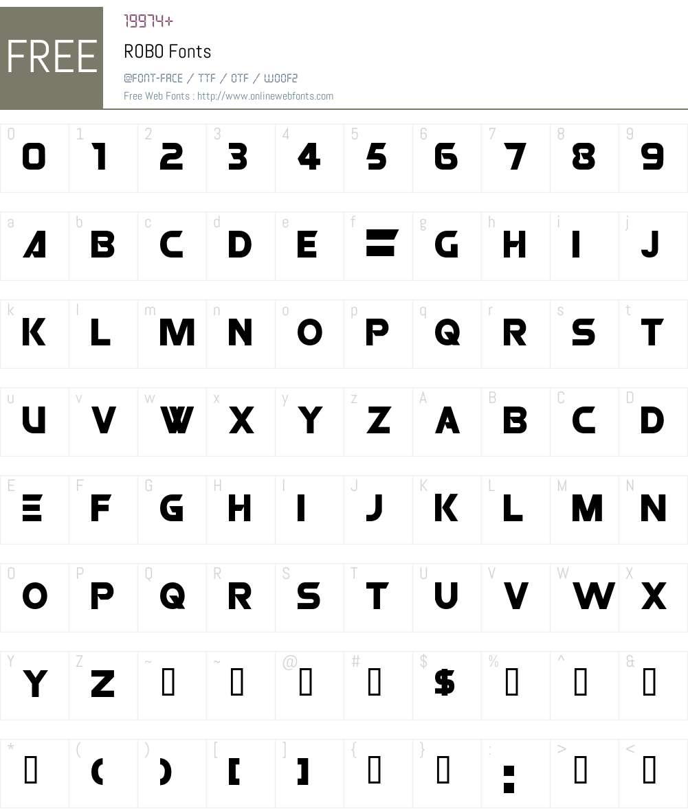 ROBO Font Screenshots
