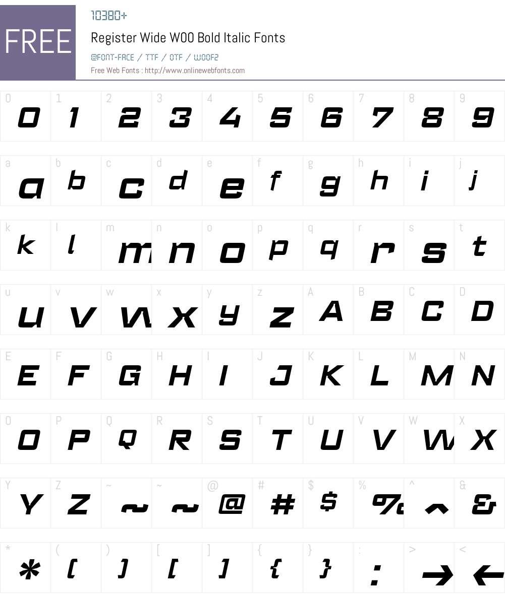 RegisterWideW00-BoldItalic Font Screenshots