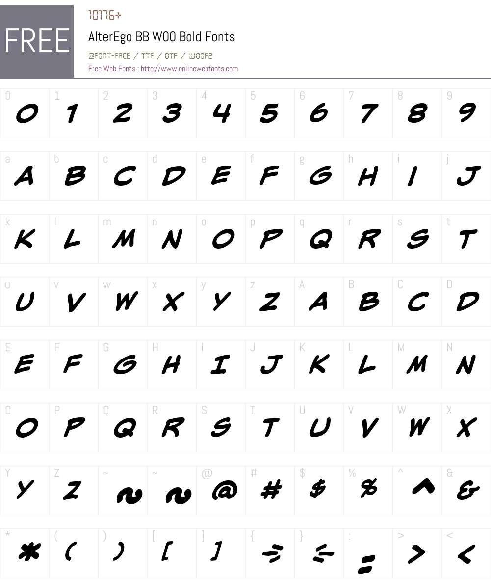 AlterEgoBBW00-Bold Font Screenshots
