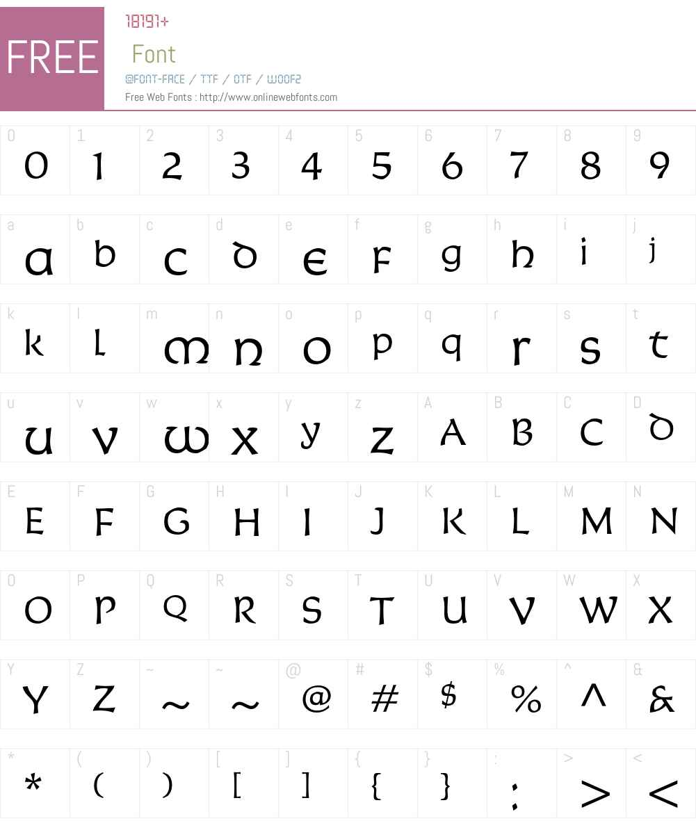Korigan ITC Font Screenshots