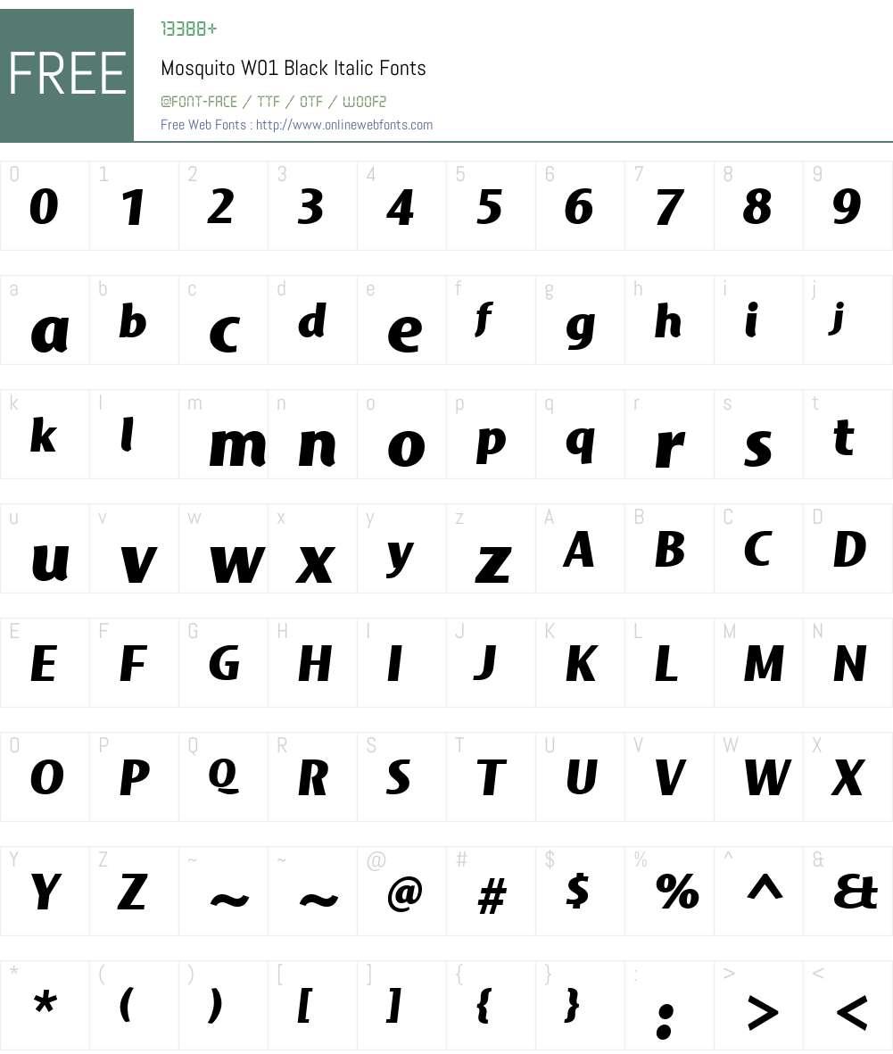 MosquitoW01-BlackItalic Font Screenshots