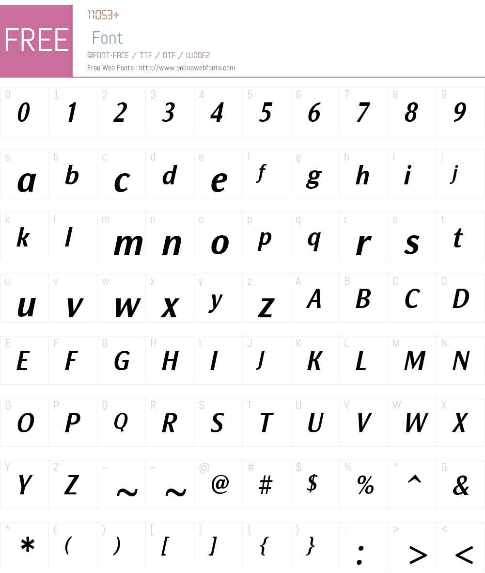 NatGroteskW00-NarrowBdItal Font Screenshots