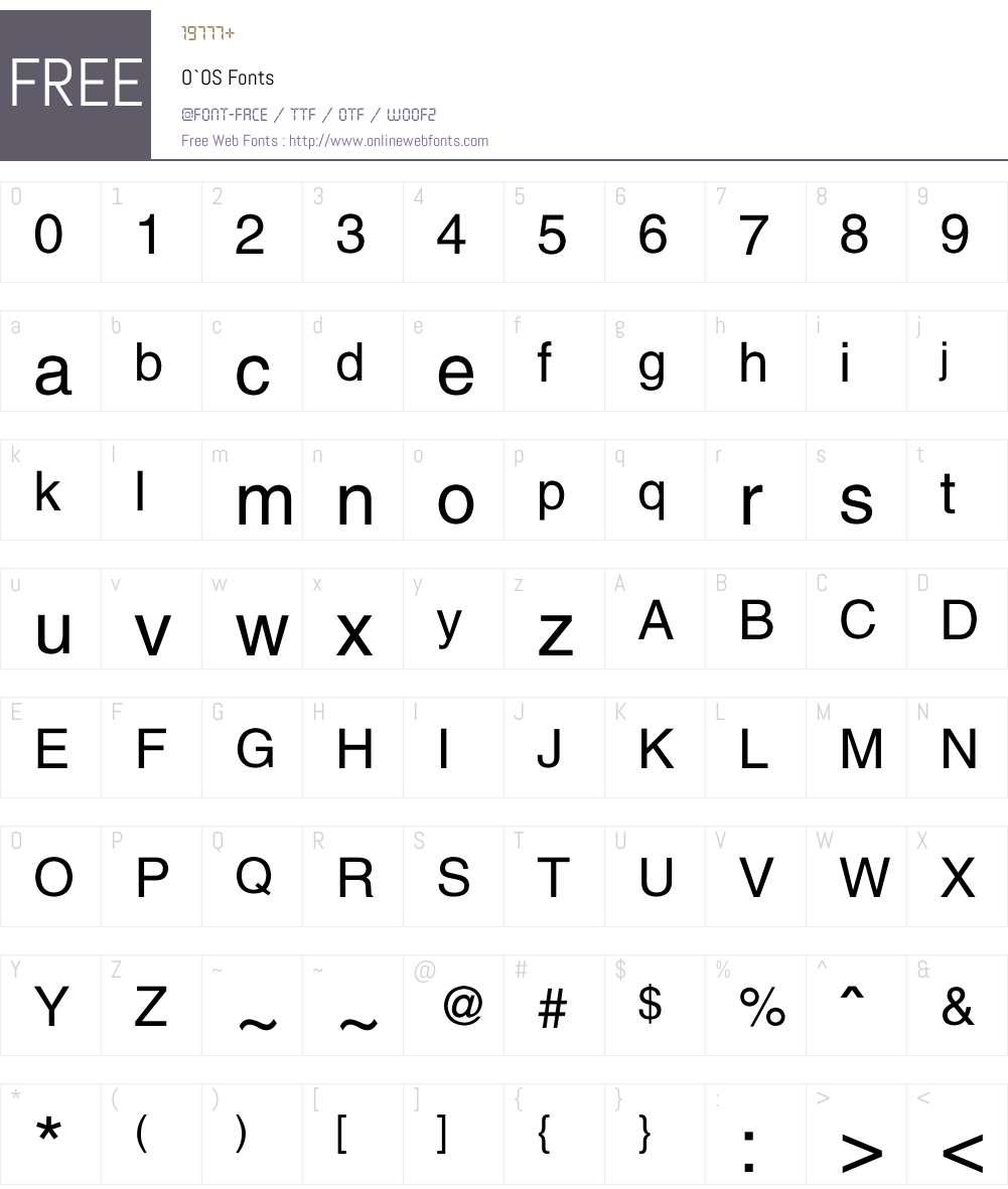 O`OS Font Screenshots