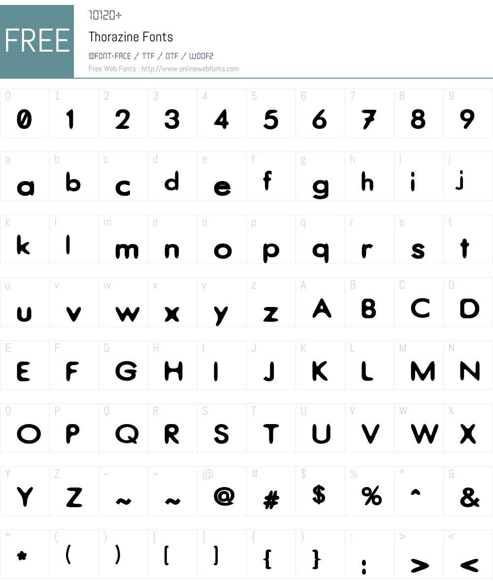 Thorazine Font Screenshots
