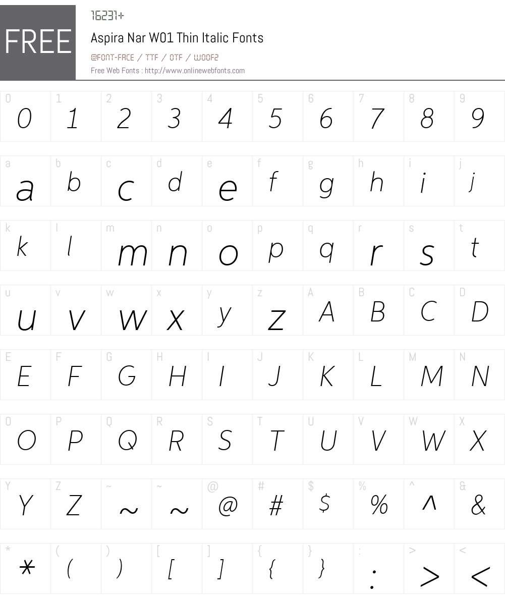 AspiraNarW01-ThinItalic Font Screenshots