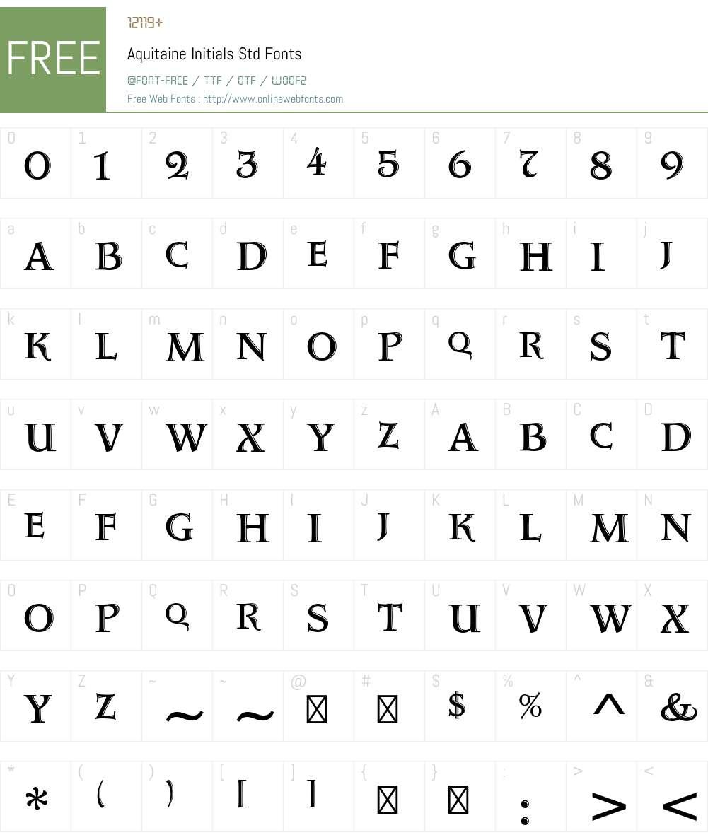 Aquitaine Initials Std Font Screenshots