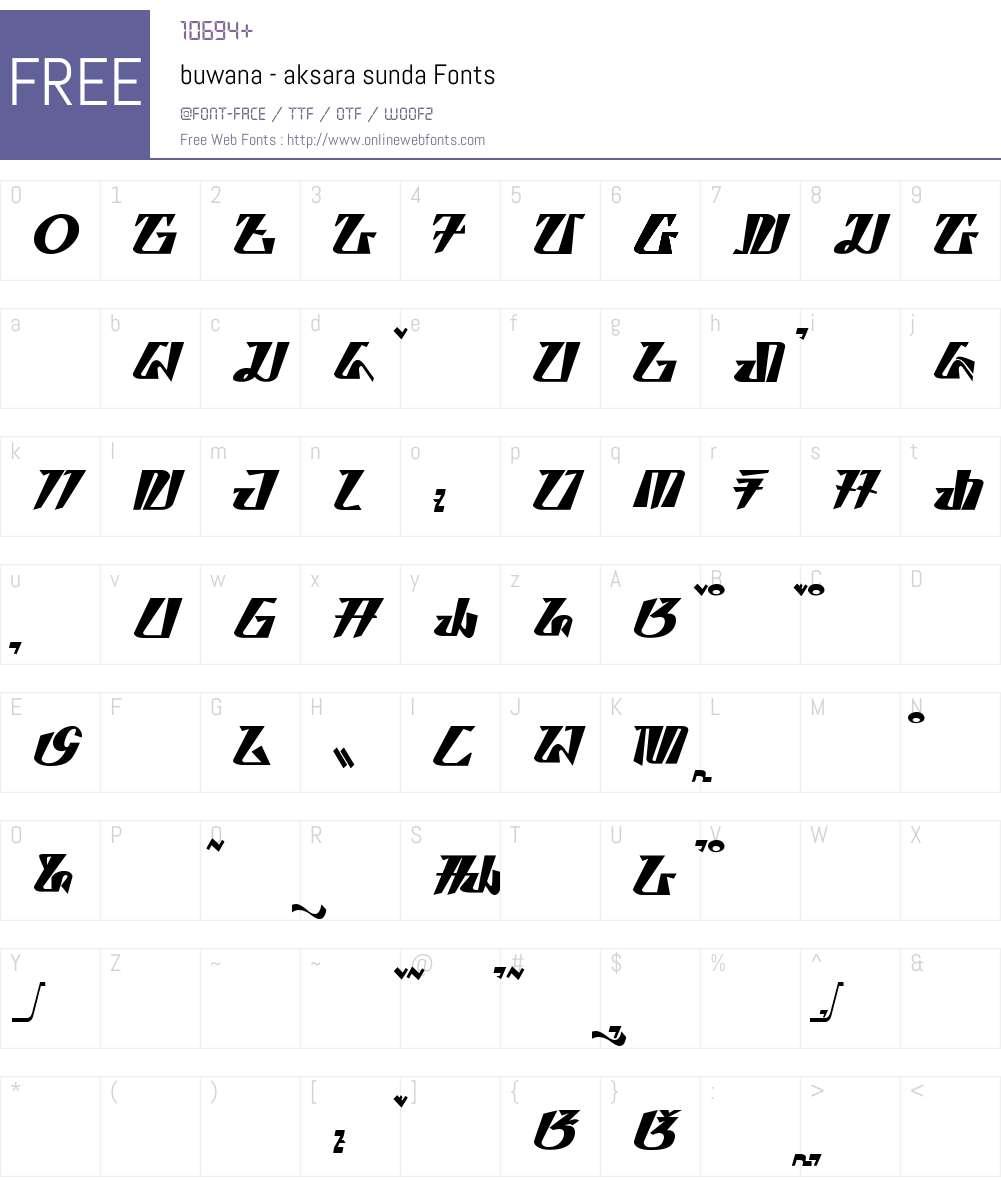 buwana - aksara sunda Font Screenshots