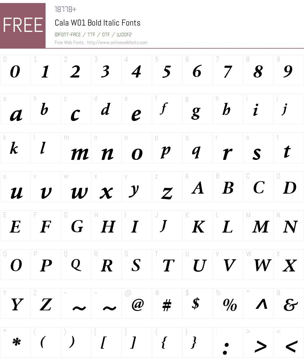 CalaW01-BoldItalic Font Screenshots