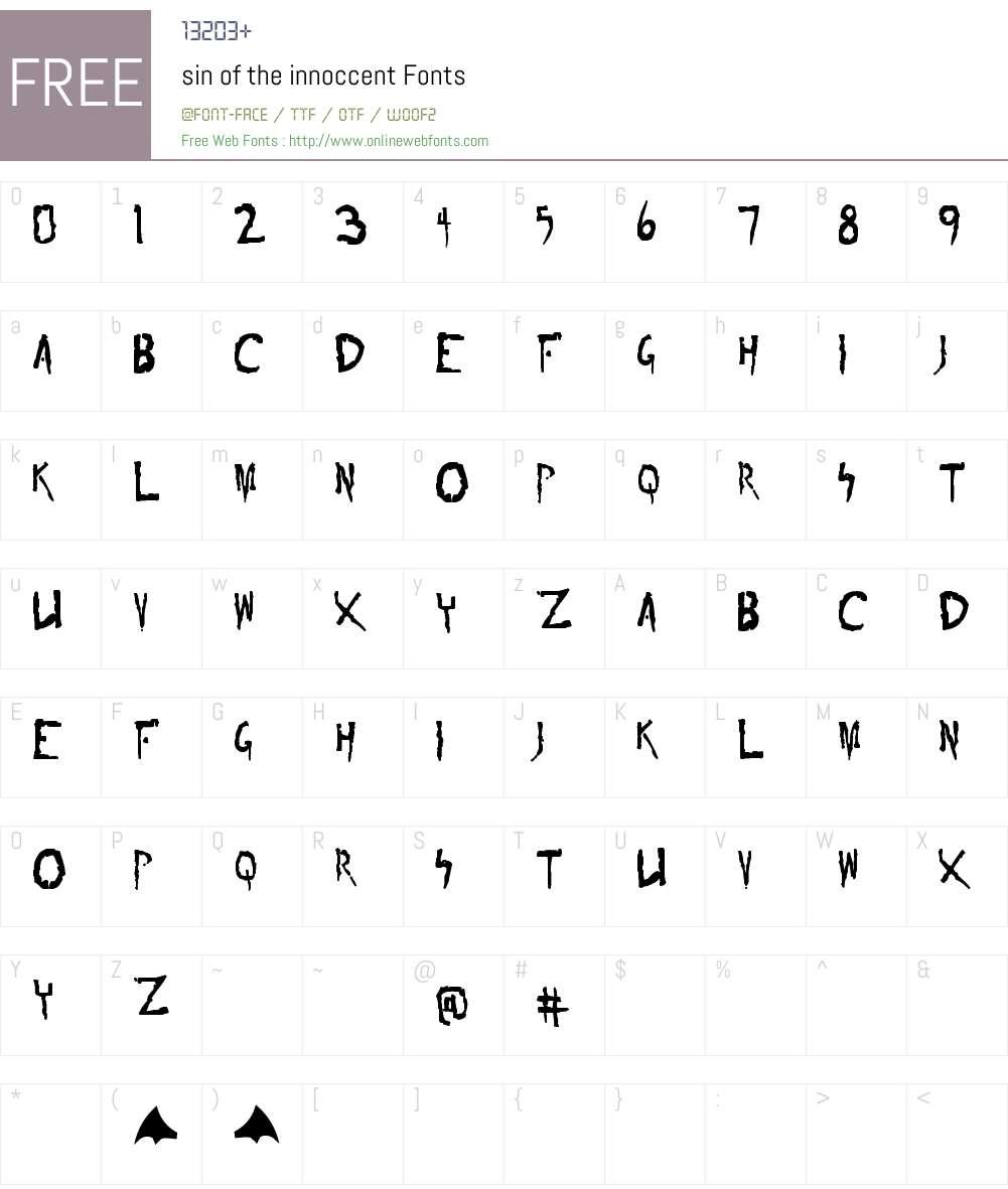 sin of the innoccent Font Screenshots