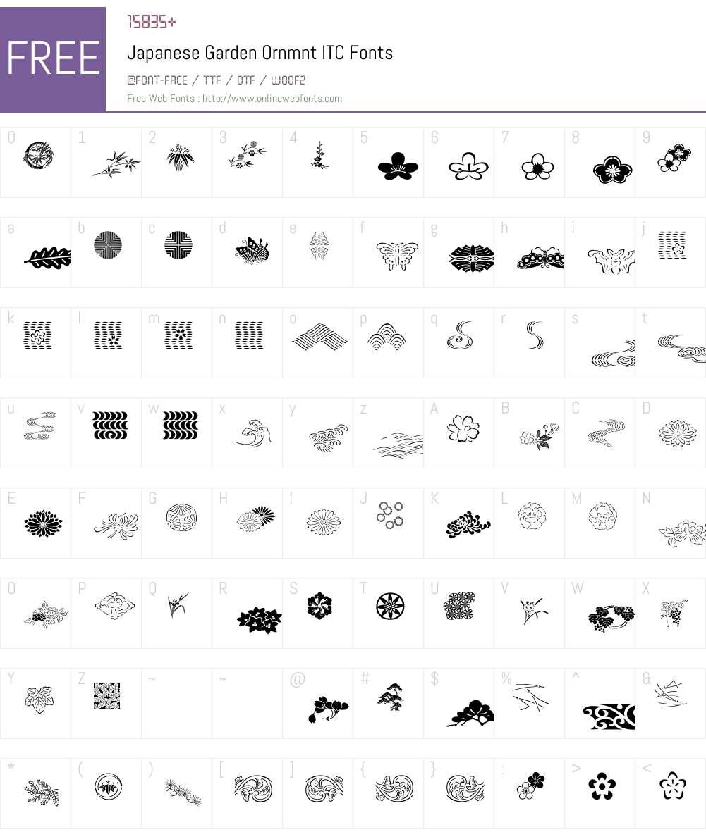 Japanese Garden Ornmnt ITC Font Screenshots