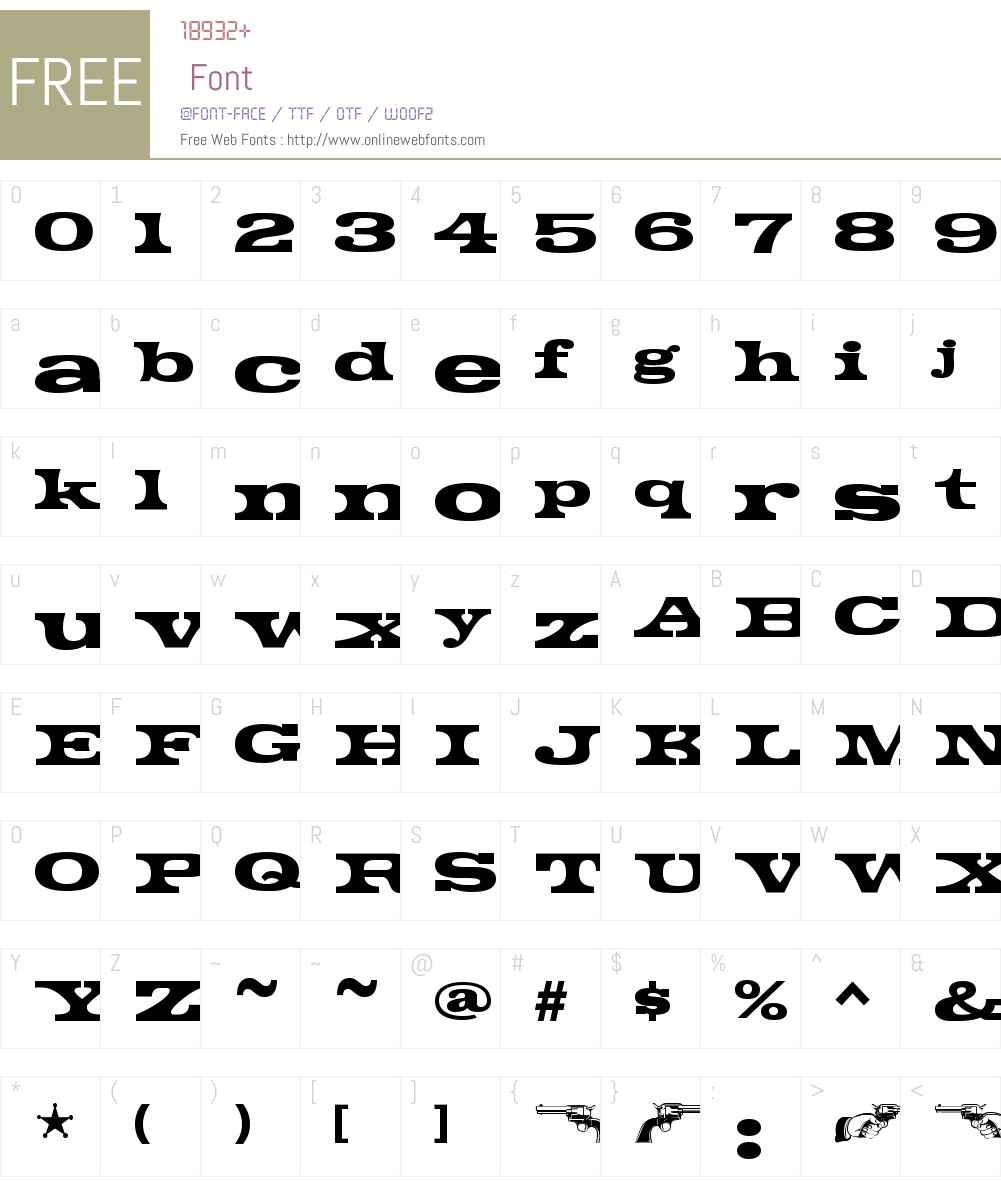 GunsmokeBlackW00-Regular Font Screenshots