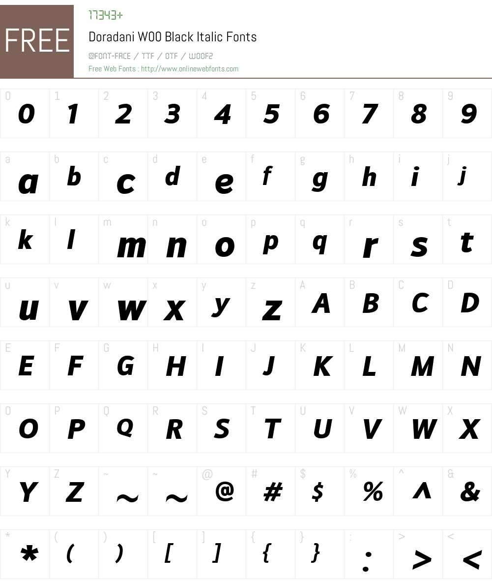 DoradaniW00-BlackItalic Font Screenshots