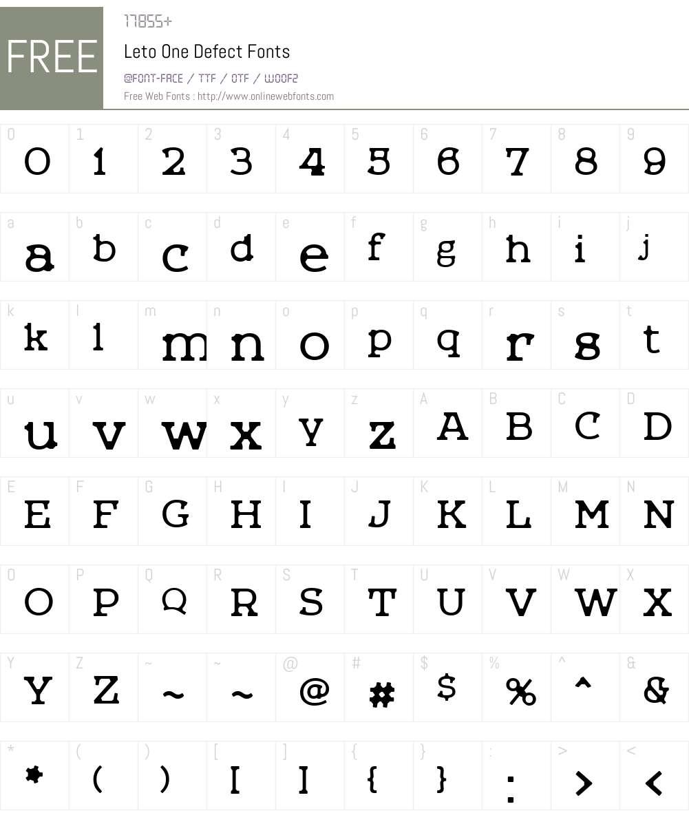 Leto One Defect Font Screenshots
