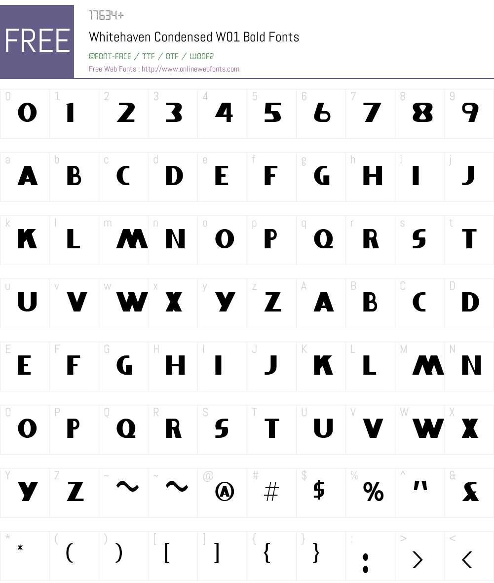 WhitehavenCondensedW01-Bold Font Screenshots