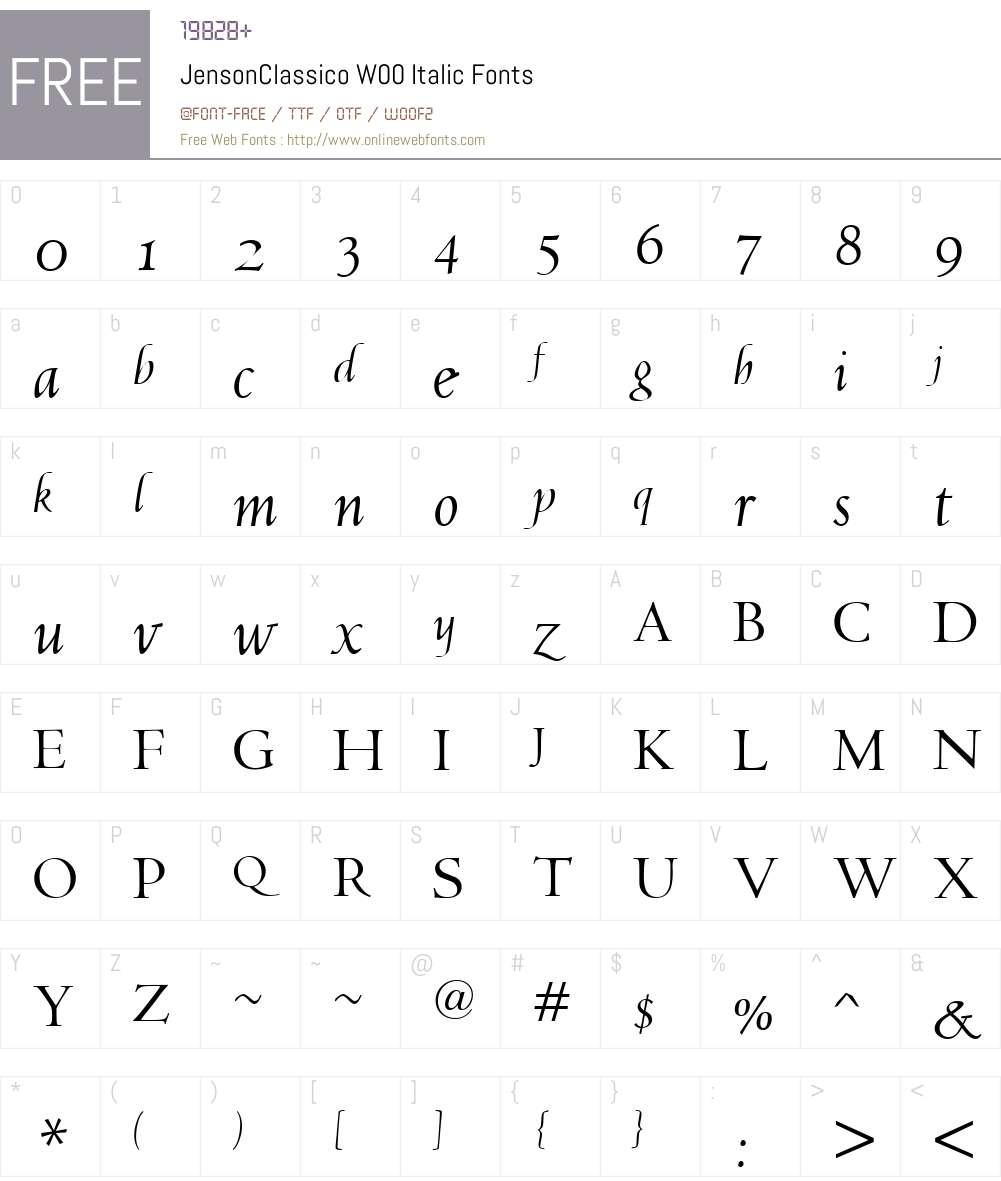 JensonClassicoW00-Italic Font Screenshots