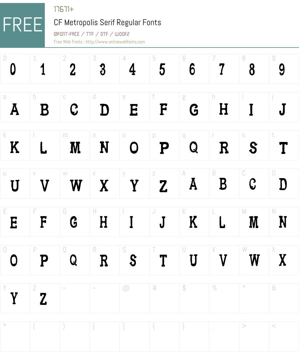 CF Metropolis Serif Font Screenshots