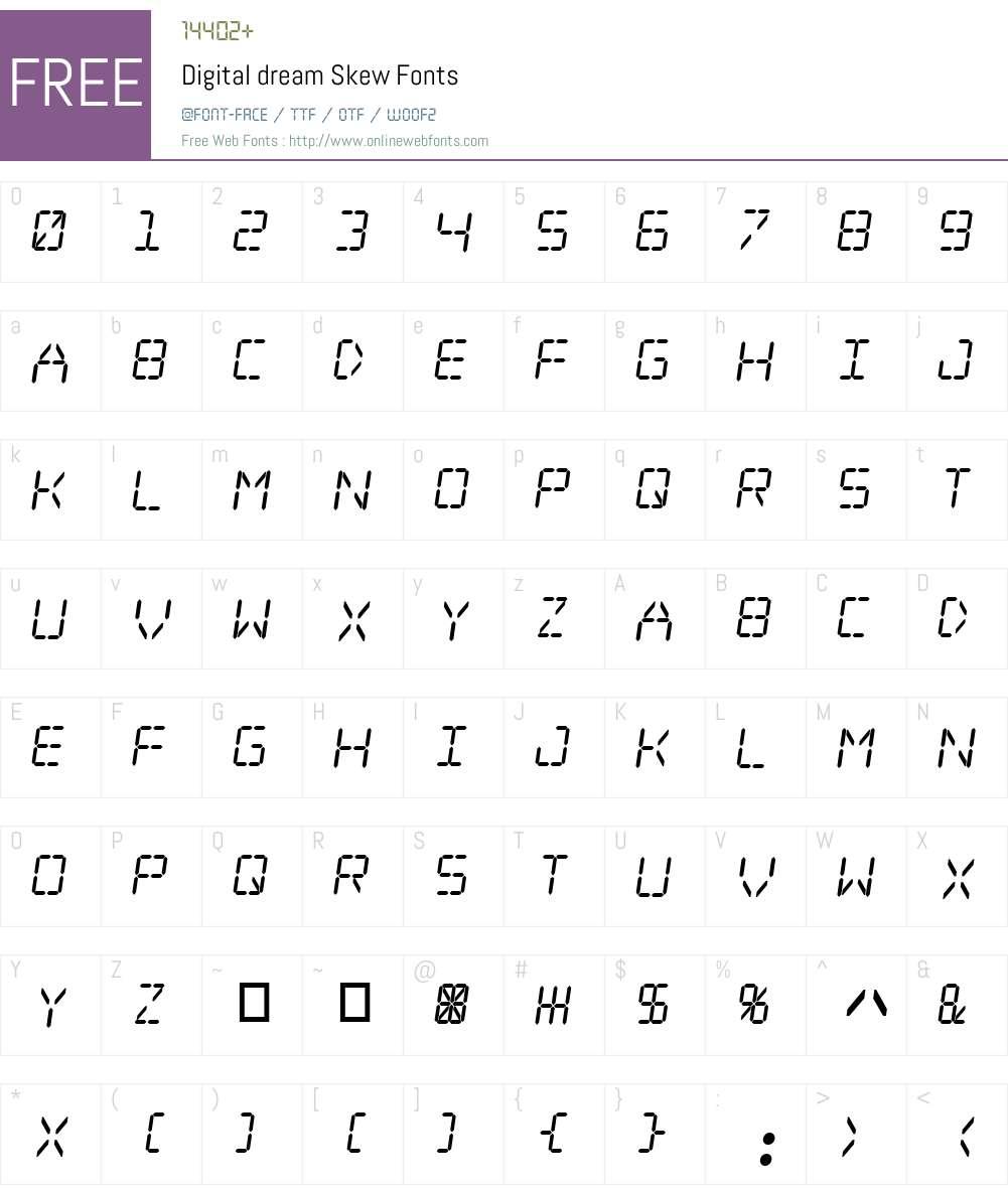 Digital dream Skew Font Screenshots