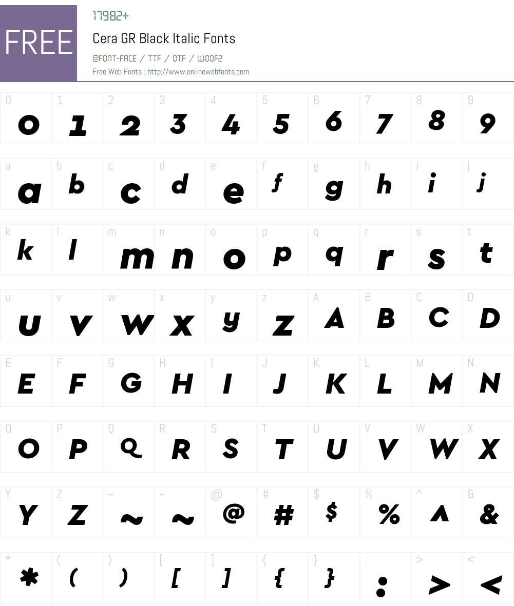 CeraGR-BlackItalic Font Screenshots