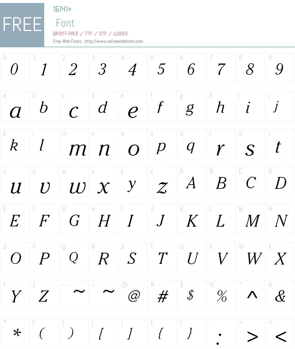 CheltenhamEF-LightItalic Font Screenshots