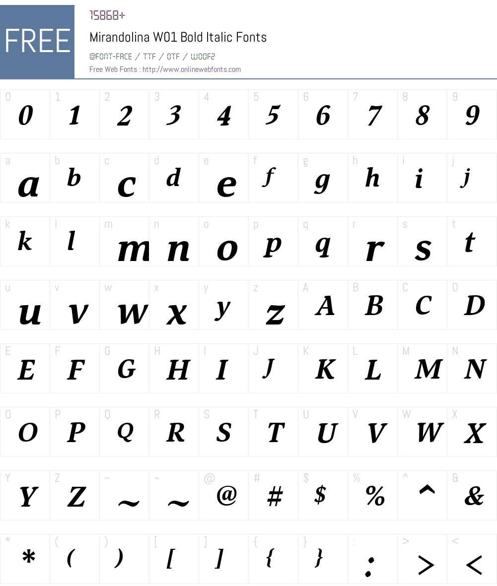 MirandolinaW01-BoldItalic Font Screenshots