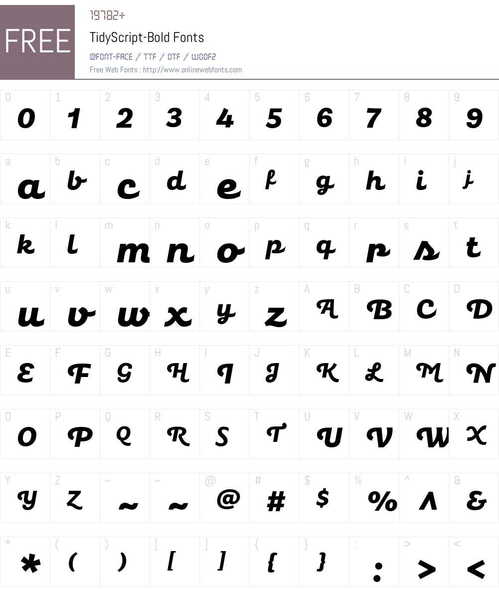 Tidy Script Bold Font Screenshots