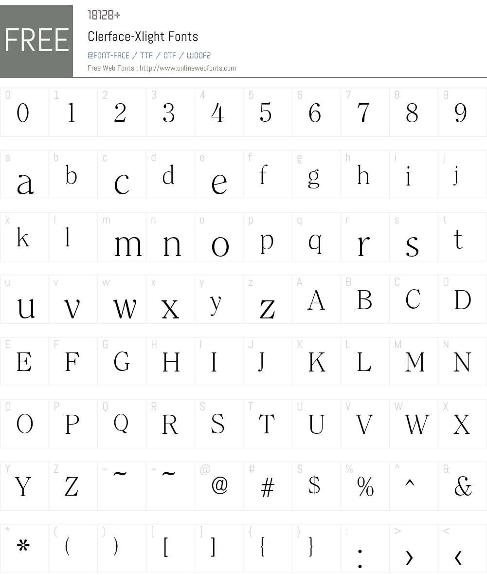 Clerface-Xlight Font Screenshots
