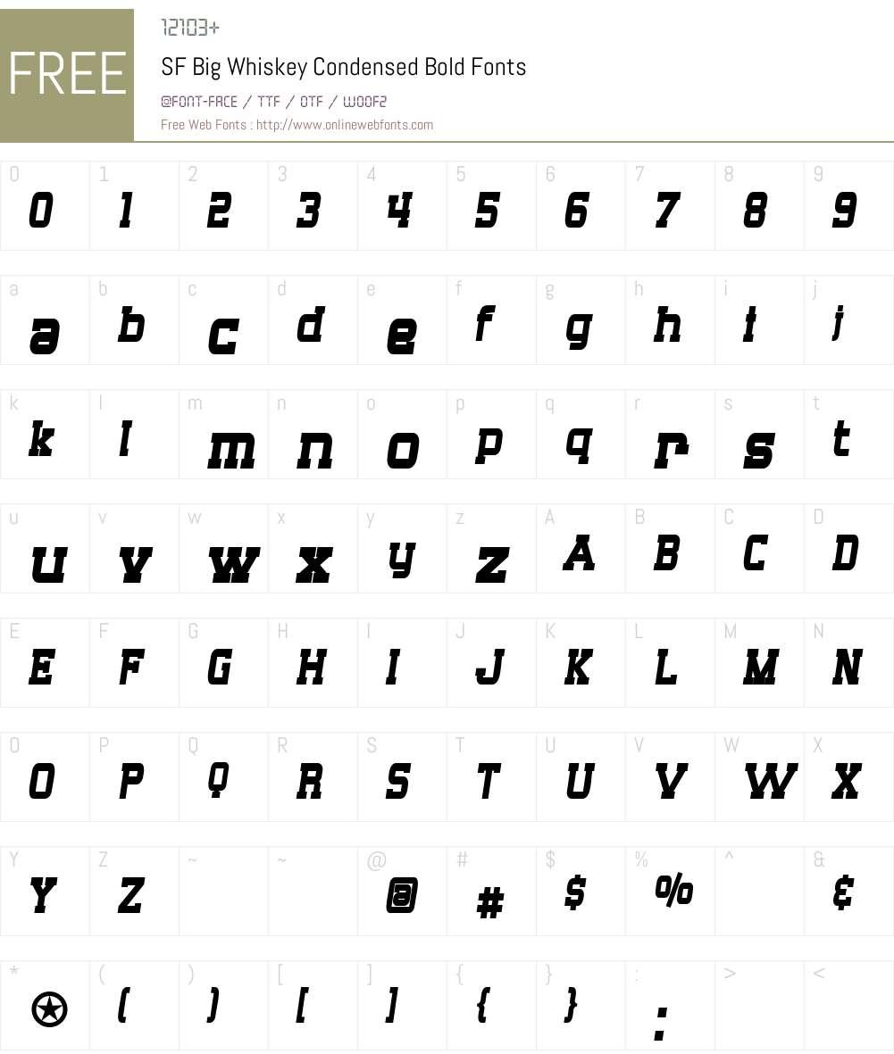 SF Big Whiskey Condensed Font Screenshots