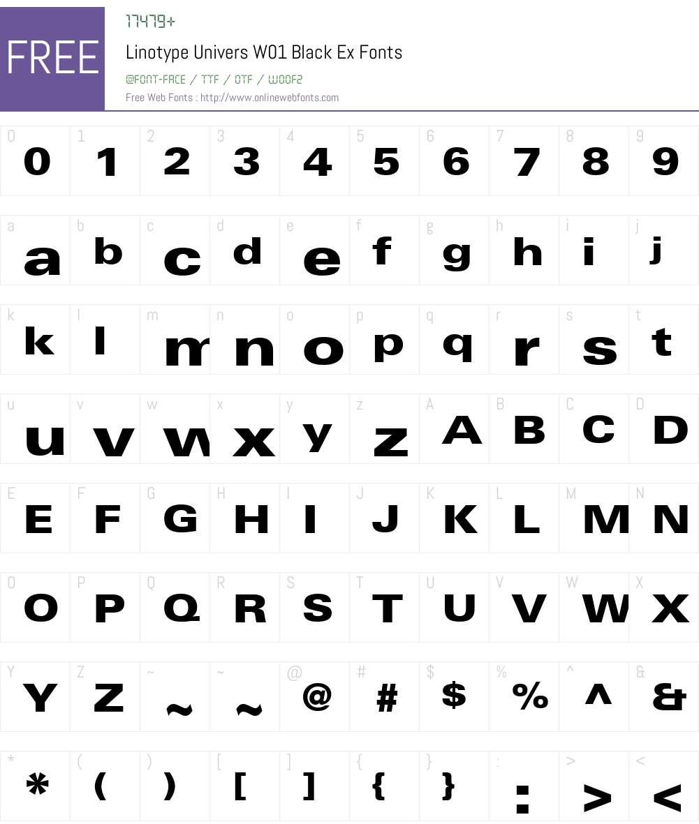 LinotypeUniversW01-BlackEx Font Screenshots