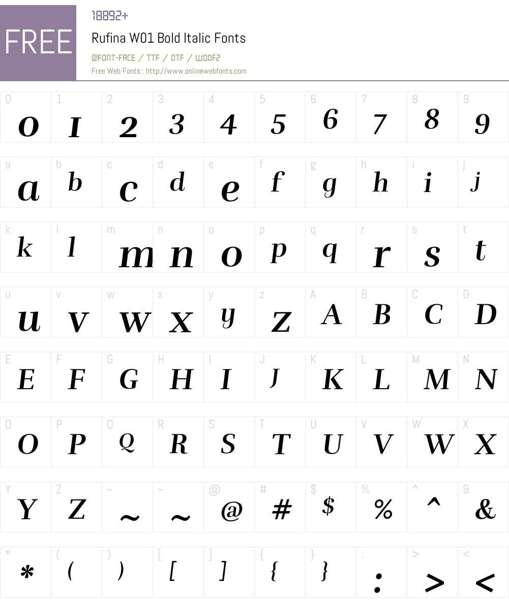 RufinaW01-BoldItalic Font Screenshots