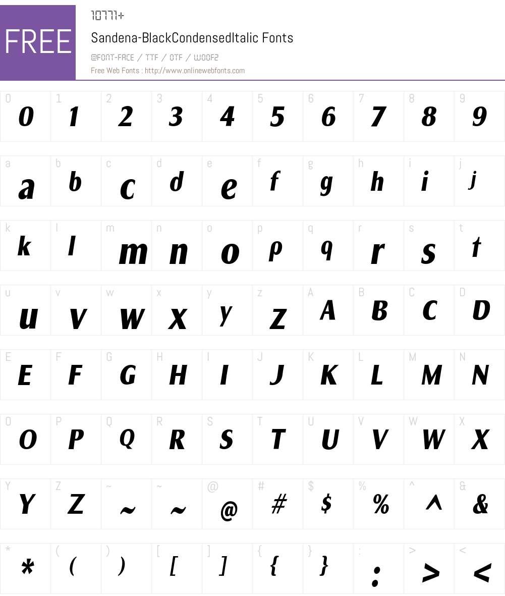 Sandena Black Cond Italic Font Screenshots