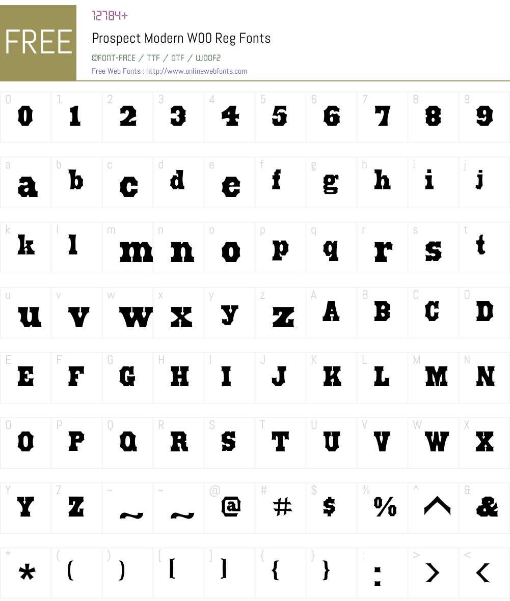 ProspectModernW00-Reg Font Screenshots