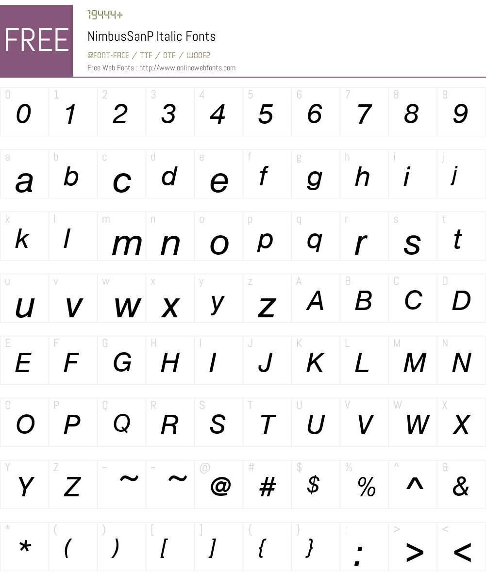 NimbusSanP Font Screenshots