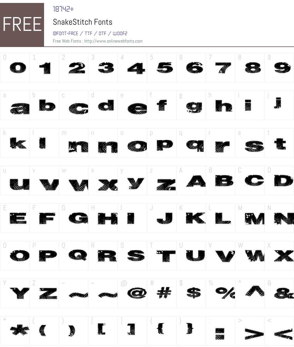 SnakeStitch Font Screenshots