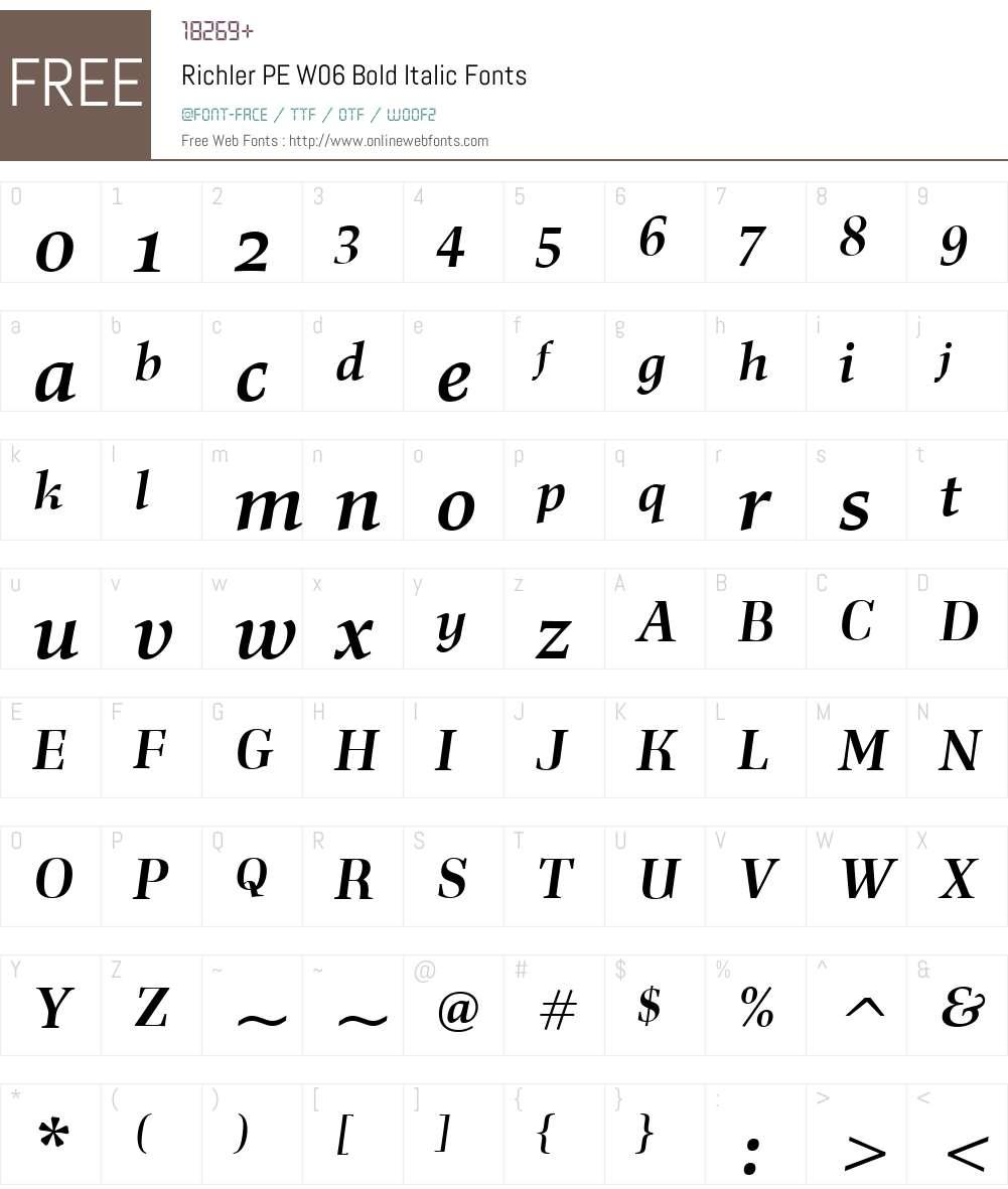 RichlerPEW06-BoldItalic Font Screenshots
