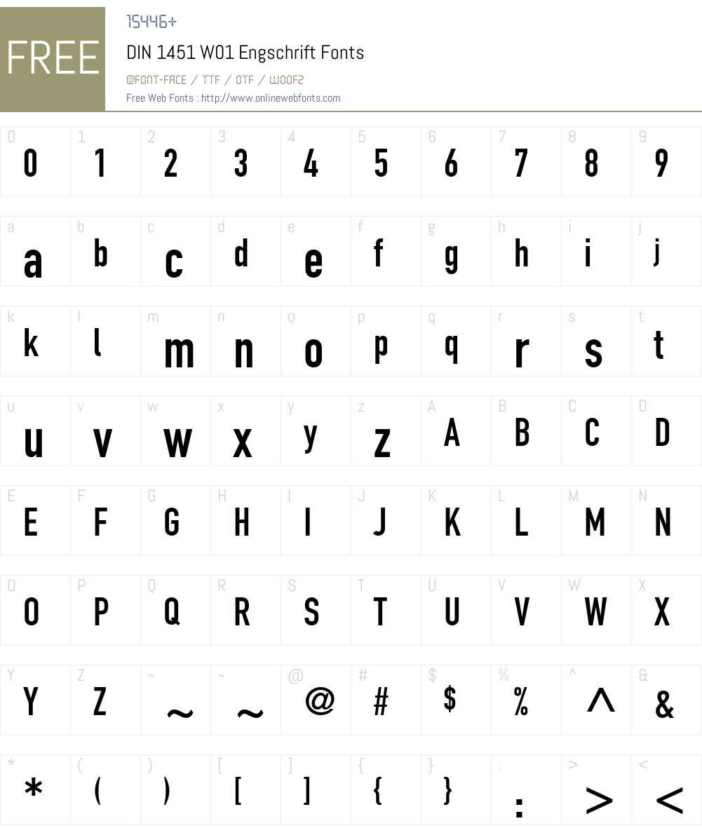 DIN1451W01-Engschrift Font Screenshots