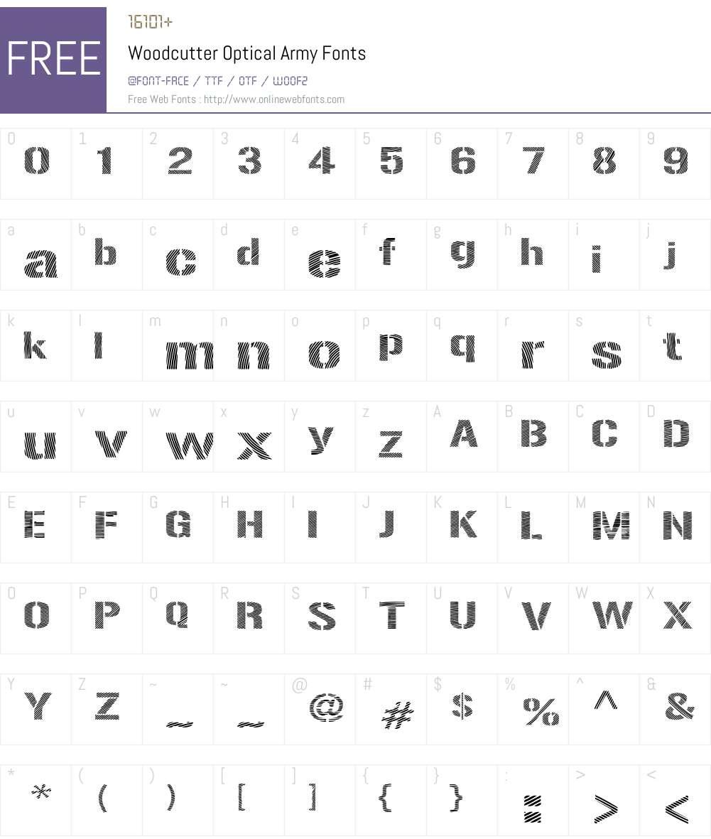 Woodcutter Optical Army Font Screenshots