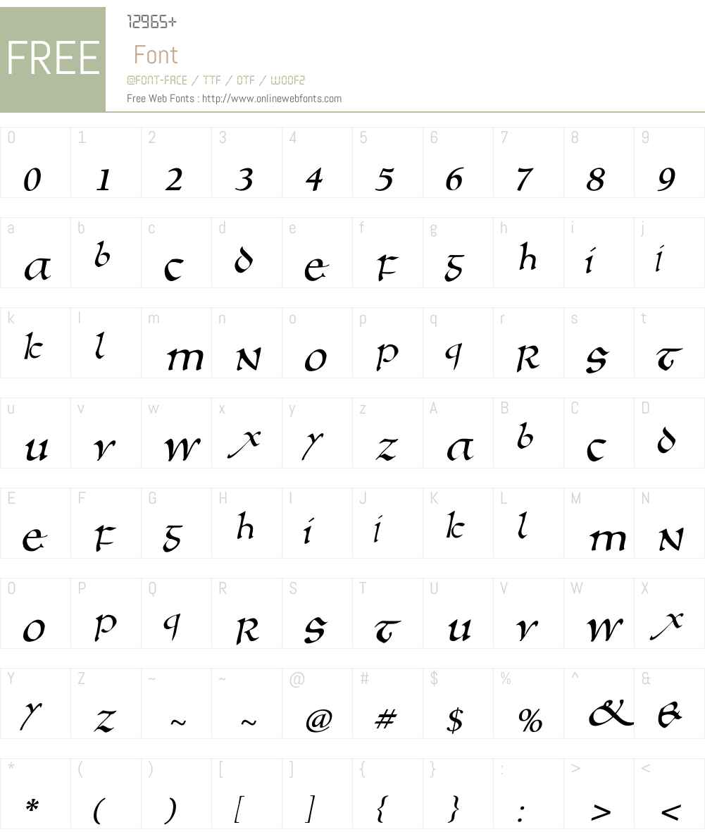 AnglosaxOblique Font Screenshots