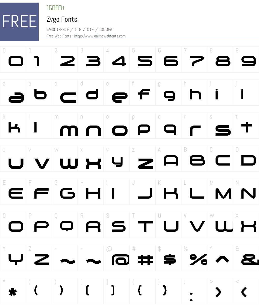 Zygo Font Screenshots