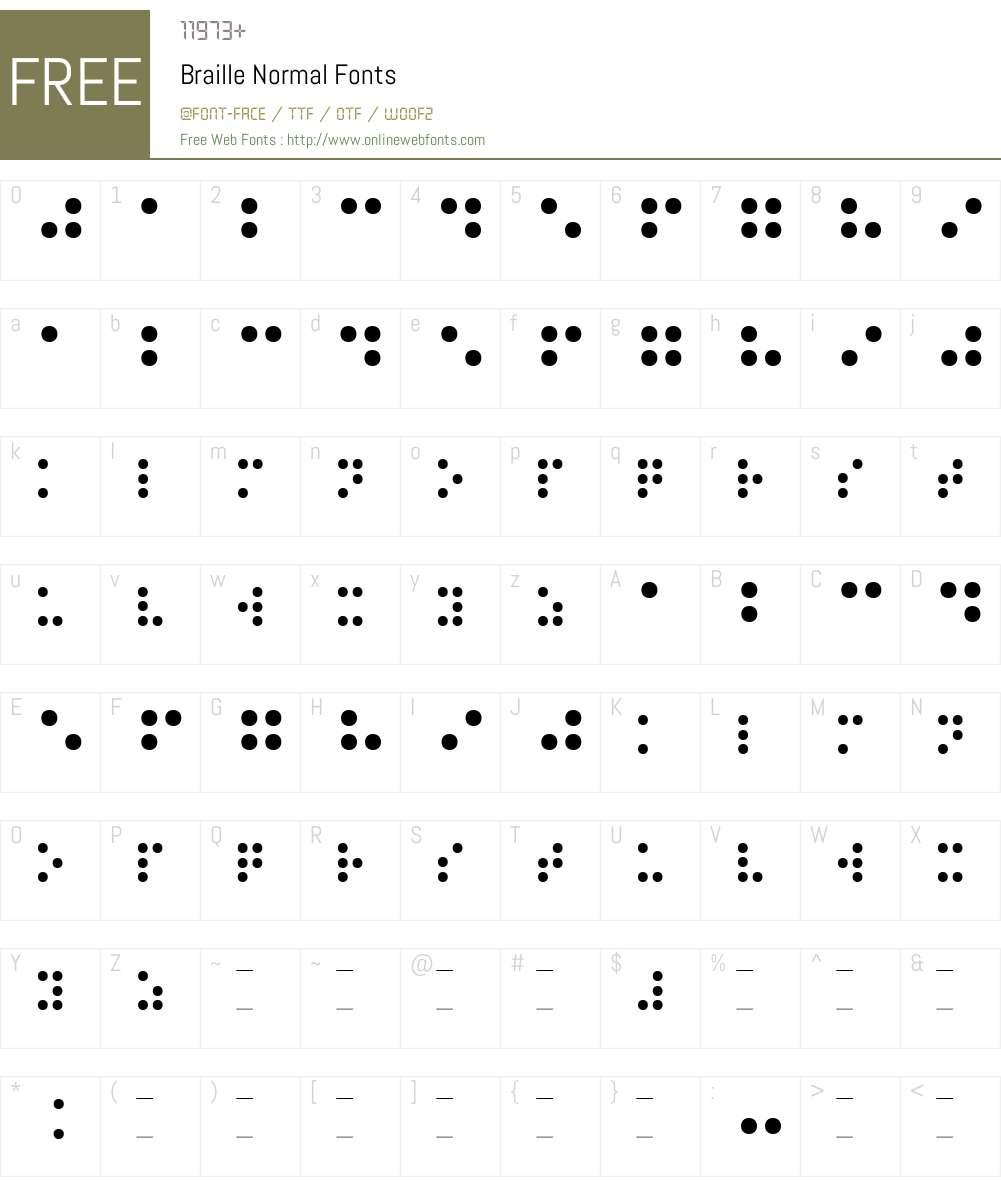 Braille Normal Font Screenshots