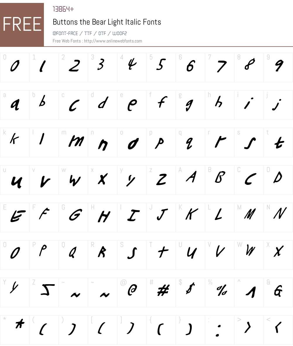 Buttons the Bear Light Italic Font Screenshots