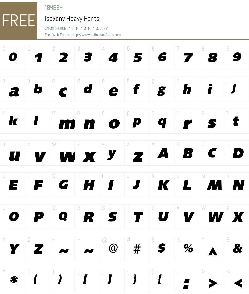 Isaxony Font Screenshots