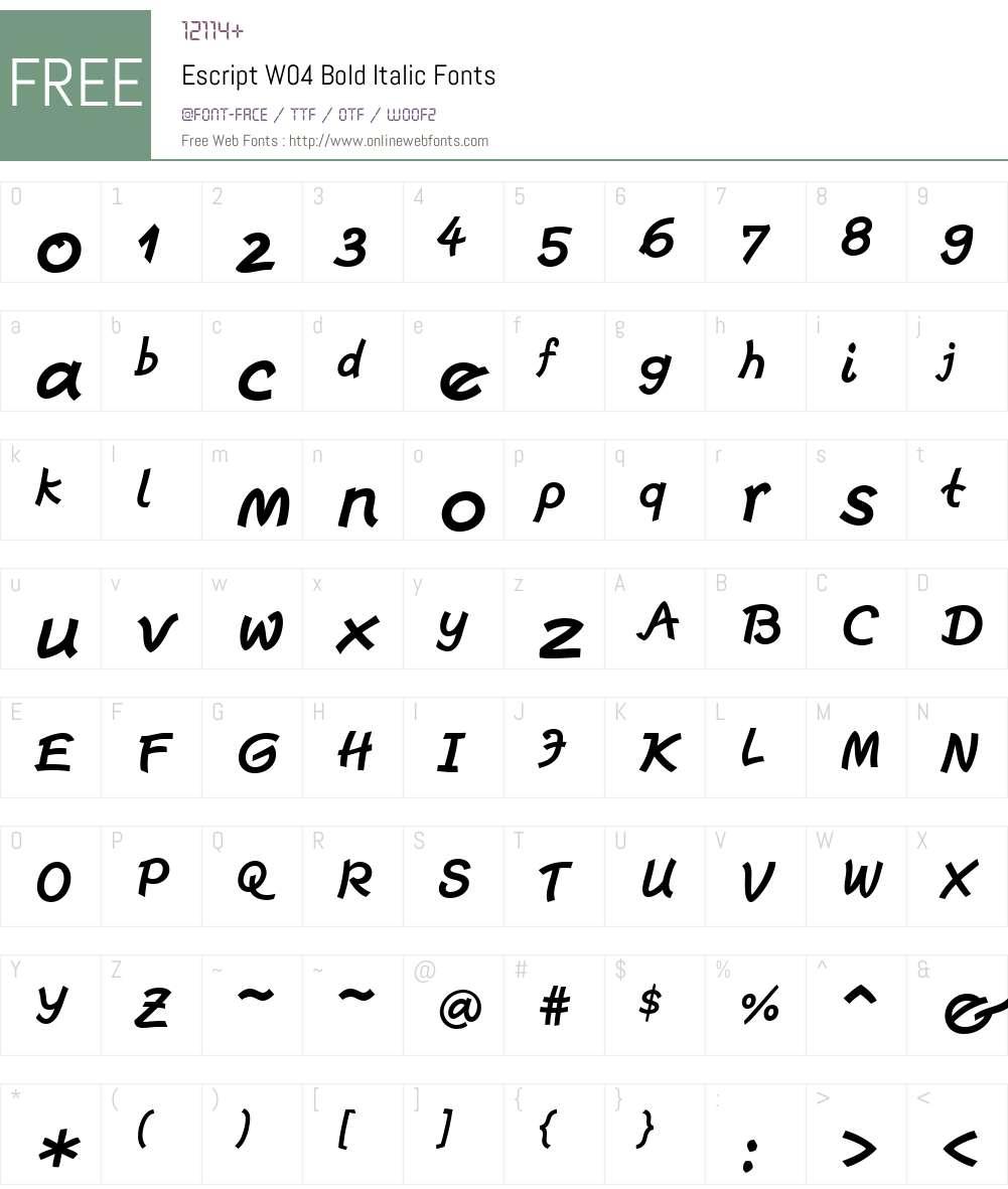 Escript Font Screenshots