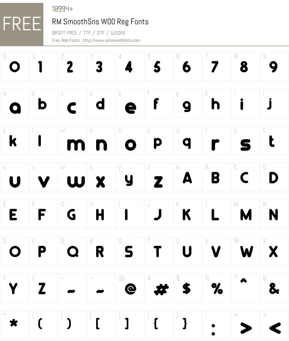 RMSmoothSnsW00-Reg Font Screenshots
